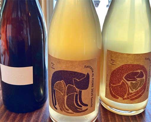 猫のラベルの日本ワイン